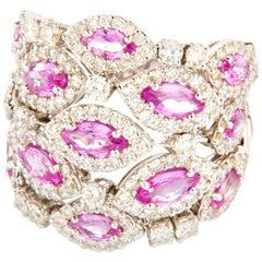 Diamond 2.1 Carat and Pink Sapphire 2.94 Carat White Gold 18 Karat Cocktail Ring