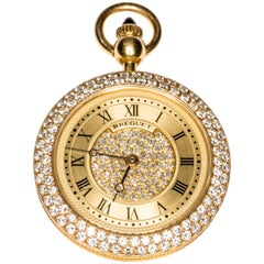 Breguet Yellow Gold Diamond Wind Movement Pocket Pendant Watch