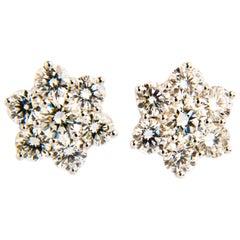 4.93 Carat Diamond Cluster Earrings Snowflake Shaped in 18 Karat White Gold