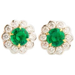 1.83ct Emerald and 1.13ct Diamond Flower Shaped Earrings in 18K White Gold