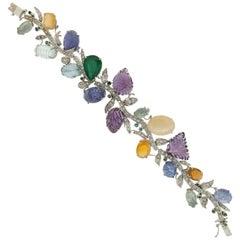 Multicolor Gold 18 karat Diamonds Cuff Bracelet