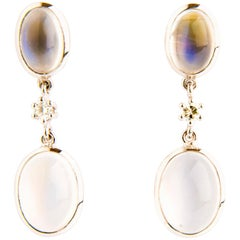 Moonstone and Diamond Dangle Earrings in White Gold 18 Karat