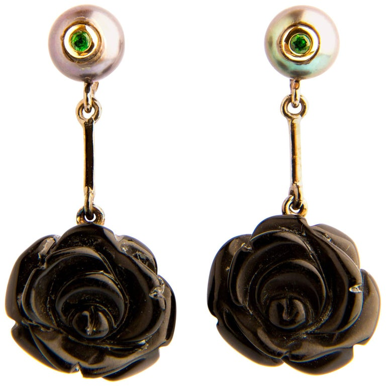 Rose Shaped Onxy Dangle Earrings with Tsavorites and Pearls in 18 Karat Gold