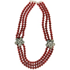 Tahiti Cultured Pearls Diamonds Gold Coral Choker Necklace