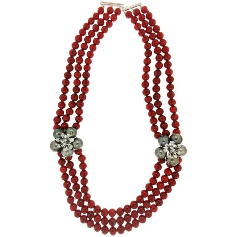 Tahiti Cultured Pearls Diamonds Gold Coral Choker Necklace