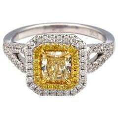 0.78ct Radiant Natural Yellow Diamond Ring with White Pave Diamonds 18K WG