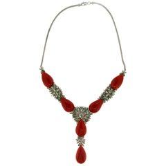 Coral Gold Diamonds Emeralds Drop Necklace