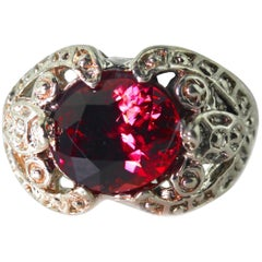 6.4 Carat Red Zircon Sterling Silver Ring