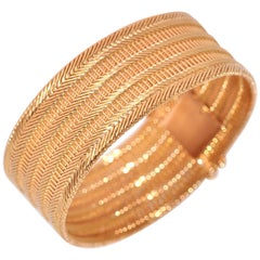 Yellow Gold Mesh Rigid Bracelet