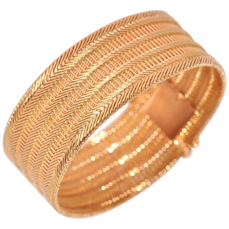 Yellow Gold Mesh Rigid Bracelet
