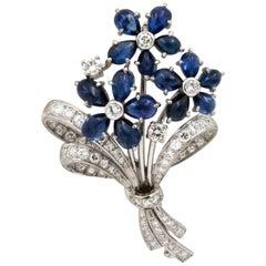 Art Deco Sapphire, 2.50 Carat Diamonds 18 Karat White Gold Bouquet Pin