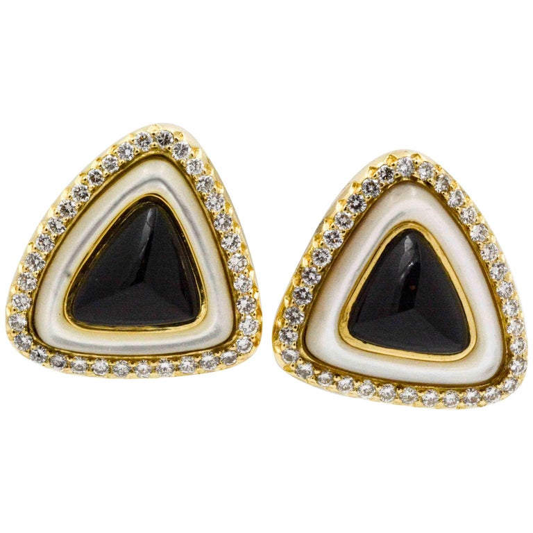 2.80 Carat Diamonds, Black Onyx, 18 Karat Gold, Mother-of-Pearl Earrings