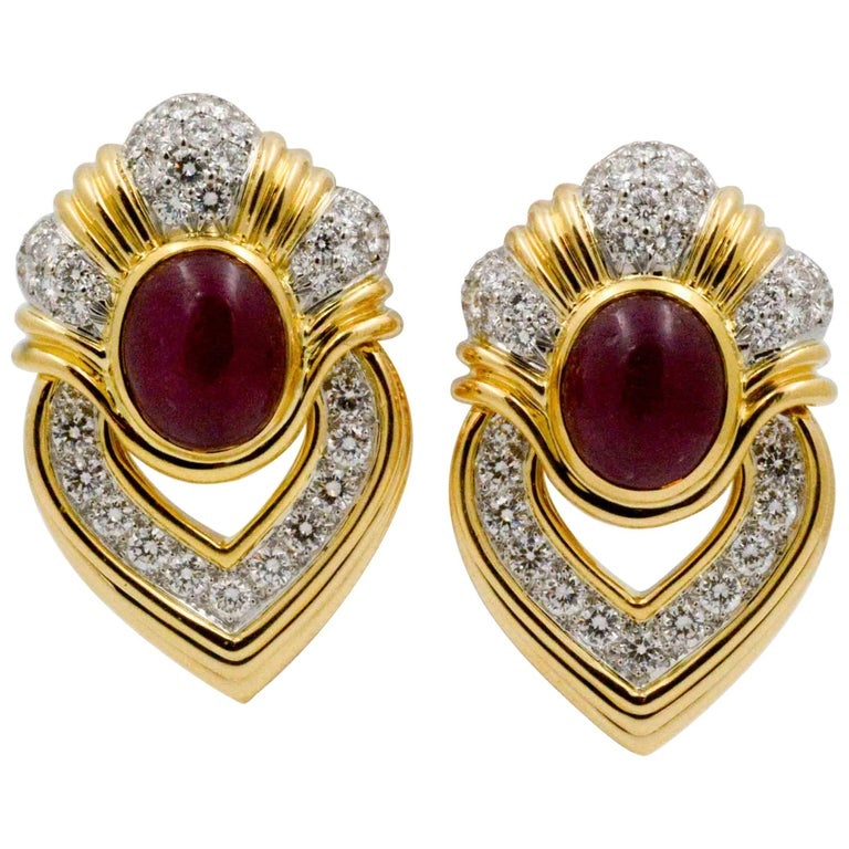 Diamond Ruby Gold Door Knocker earrings
