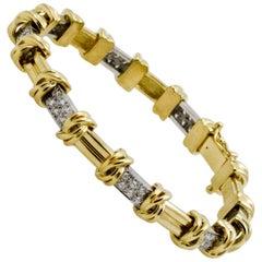 Platinum, 18 Karat Gold 1.00 Carat Diamonds Link Bracelet