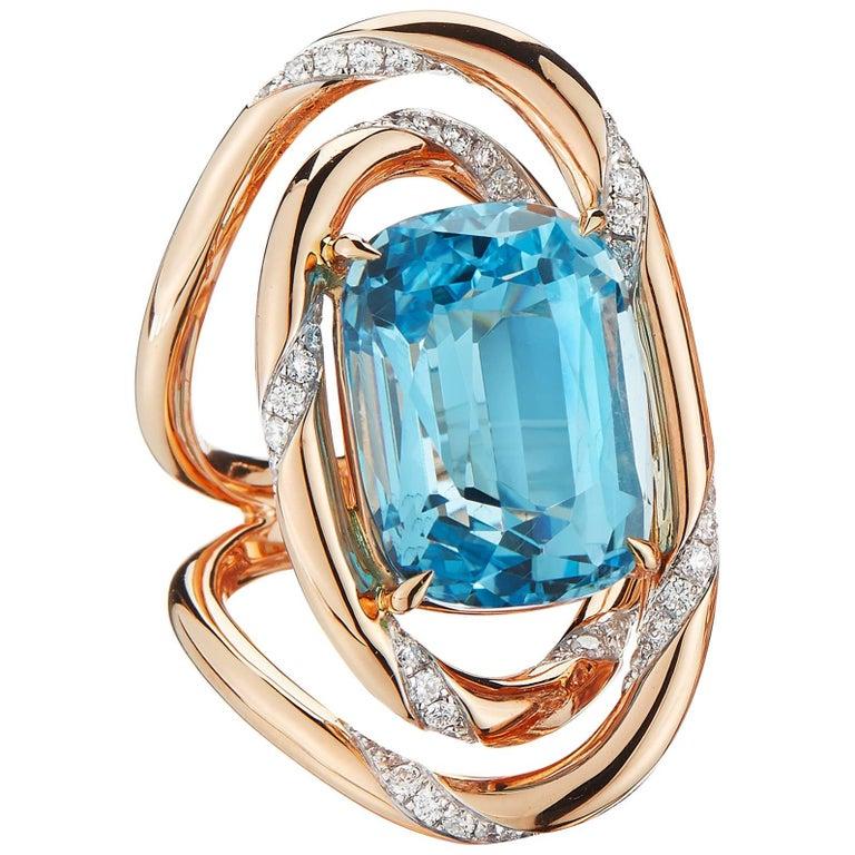 Blue Topaz 26.19 Carat, and Diamond 1.20 Carat, 18 Karat Rose Gold Ring