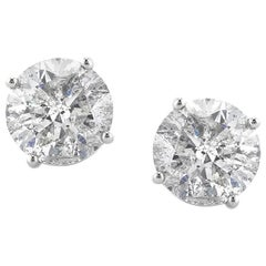 Mark Broumand 3.54 Carat Round Brilliant Cut Diamond Stud Earrings