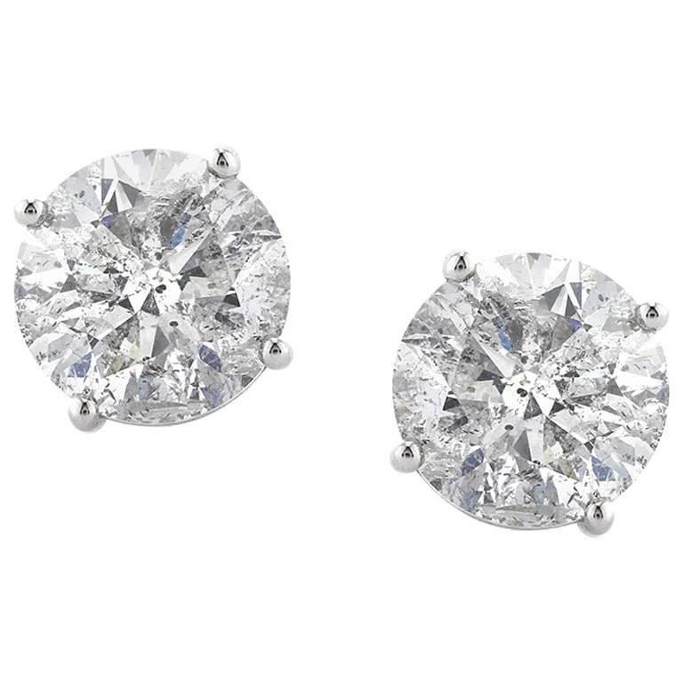 Mark Broumand 3.54 Carat Round Brilliant Cut Diamond Stud Earrings