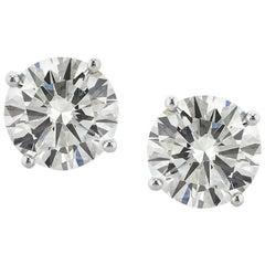 Mark Broumand 4.03 Carat Round Brilliant Cut Diamond Stud Earrings