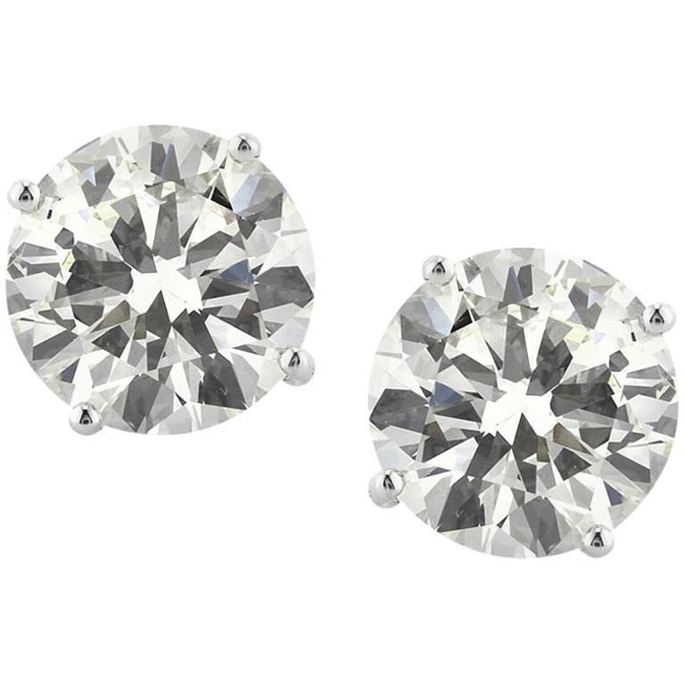 Mark Broumand 4.32 Carat Round Brilliant Cut Diamond Stud Earrings
