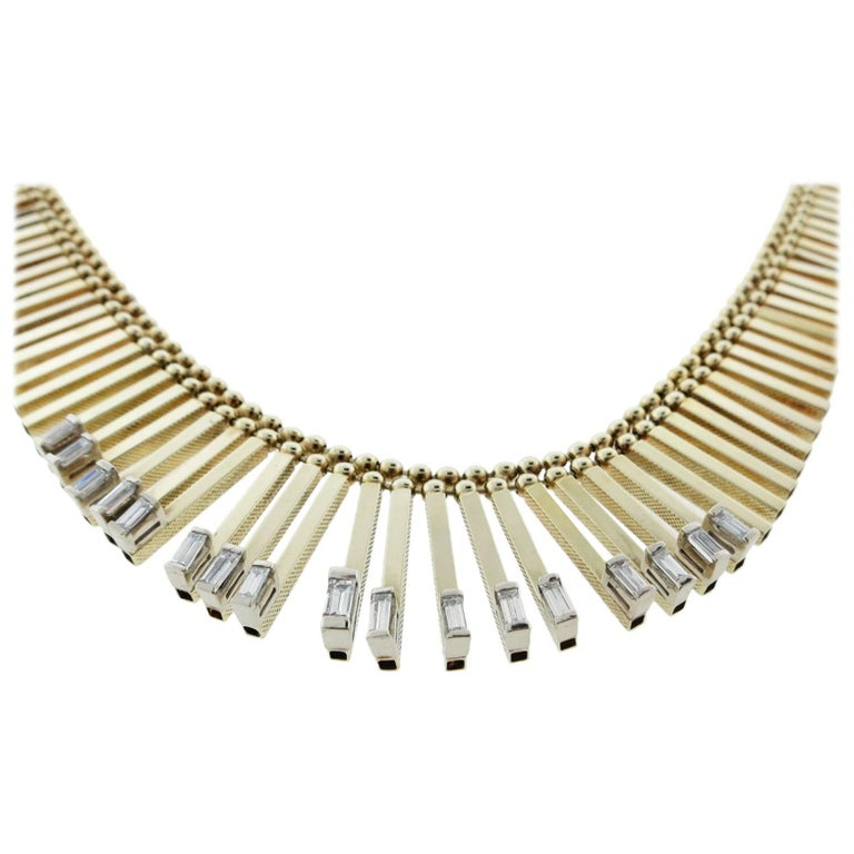Egyptian Inspired Baguette Cut Diamond Necklace