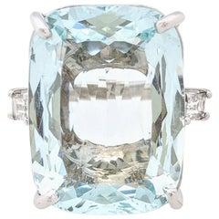 18KWG 26.18ct Natural Beryl Cushion Cut Aquamarine & Diamond Ring GIA Certified
