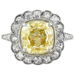 Mark Broumand 5.53 Carat Fancy Yellow Old Mine Brilliant Diamond Engagement Ring