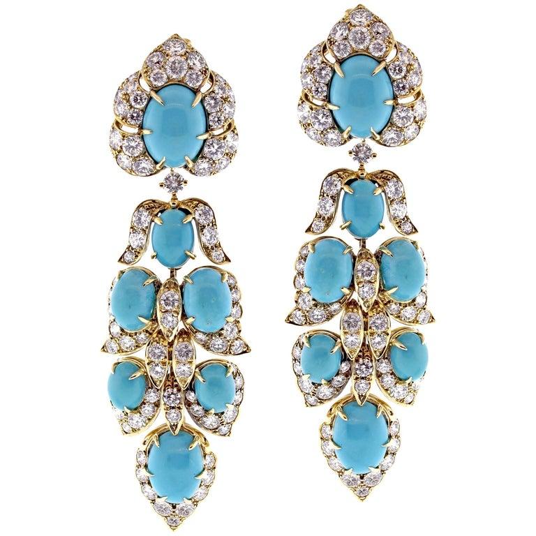 Van Cleef & Arpels Turquoise Diamond Drop Earrings
