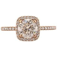 Mark Broumand 1.63 Carat Round Brilliant Cut Diamond Engagement Ring