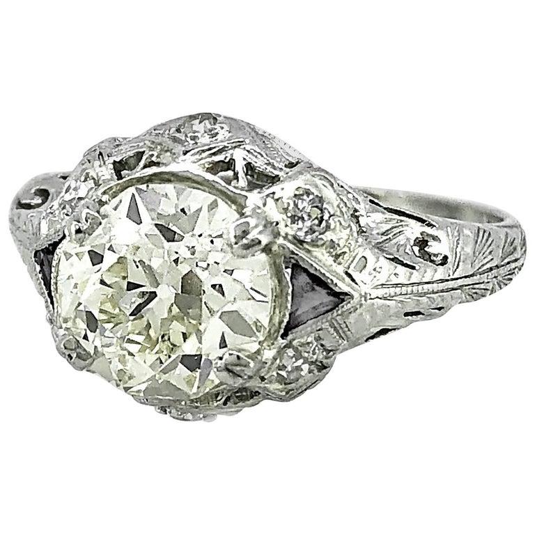 1.54 Carat Diamond Sapphire Antique Engagement Ring Platinum EGL Certificate