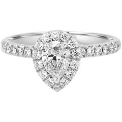 GIA Certified Pear Shape Diamond Halo Platinum Gold Engagement Ring