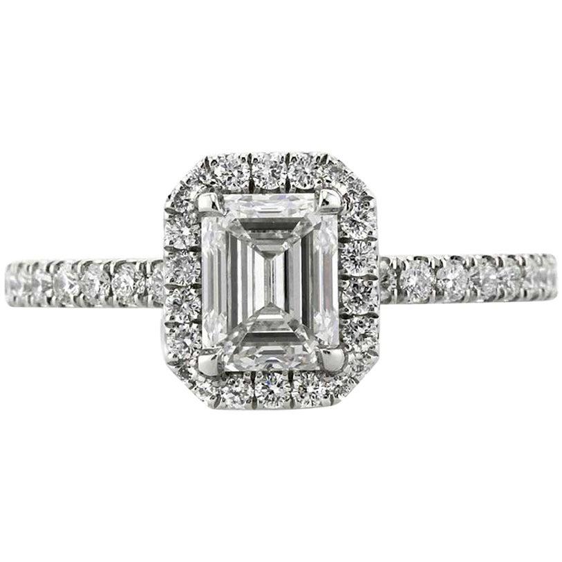 Mark Broumand 1.57 Carat Emerald Cut Diamond Engagement Ring