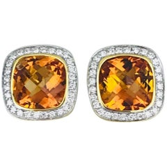 Checkerboard Cushion-Cut Citrine Earrings, Diamond Halo Contemporary Earrings