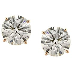 Mark Broumand 4.45 Carat Round Brilliant Cut Diamond Stud Earrings