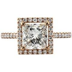 Mark Broumand 2.64 Carat Princess Cut Diamond Engagement Ring