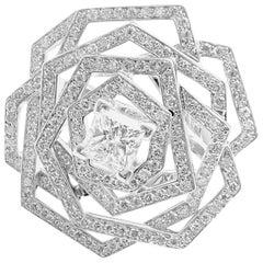 Chanel 1932 Flower Diamond White Gold Large Ring