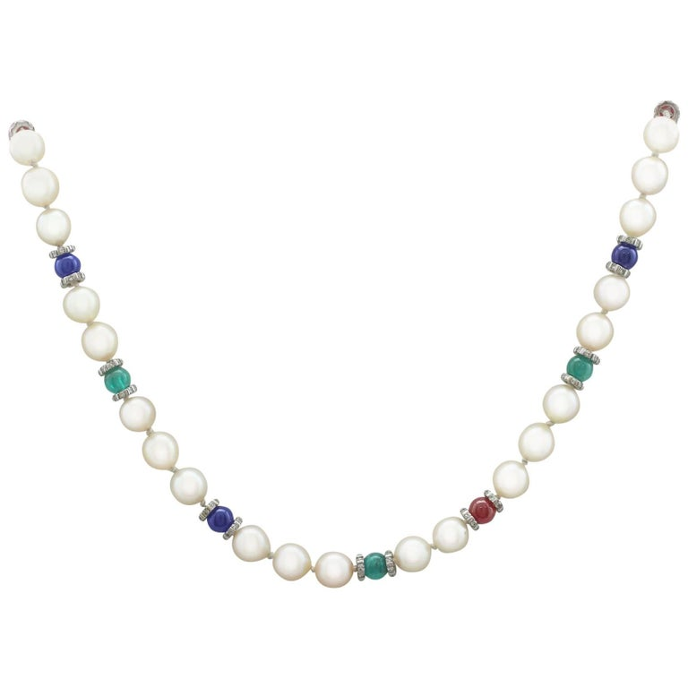 Cultured Pearl Diamond Sapphire Emerald Ruby and Yellow Gold Necklace