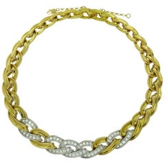 4.20 Carat Diamond Collar Necklace, Yellow Gold Open Curb Fancy Link Design