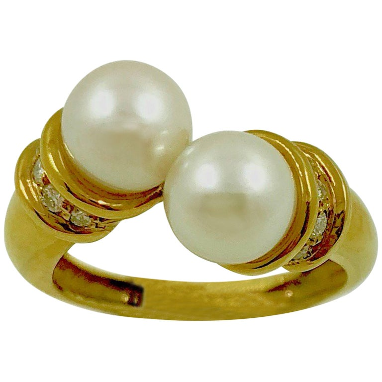 Akoya Pearls Diamonds Gold Bypass Ring For Sale