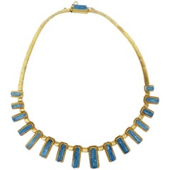 "Burle Marx ""Forma Livre"" Carved Aquamarine Necklace"