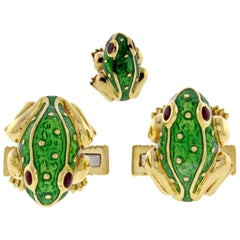 David Webb Green Enamel Gold Frog Cufflinks