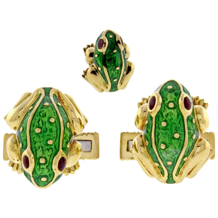 David Webb Green Enamel Gold Frog Cufflinks