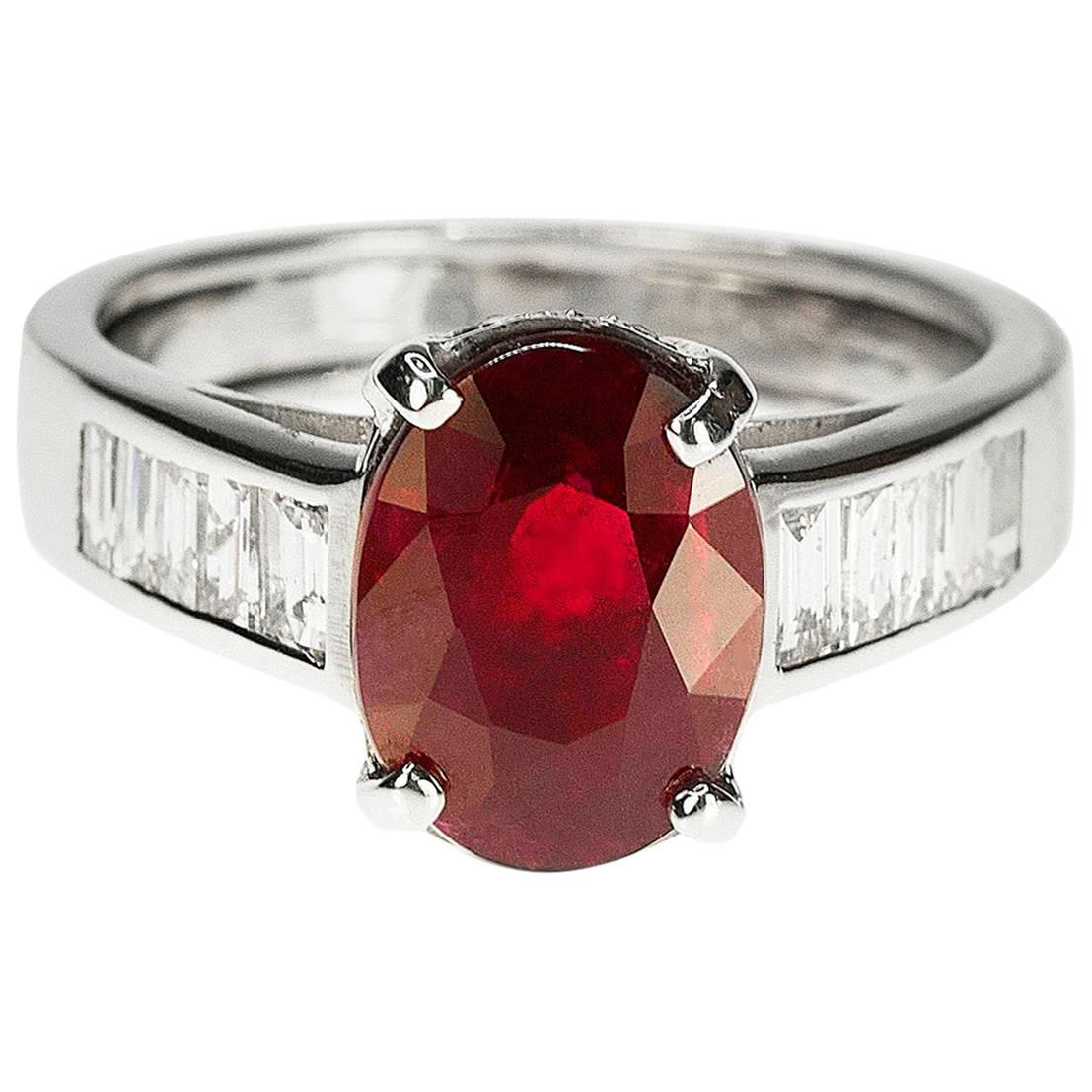 Platinum Ring with No Heat Burma Ruby