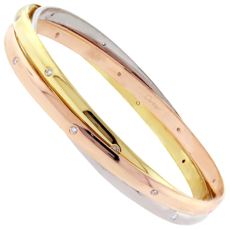 Cartier Trinity Bangle Bracelet with Diamonds