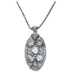 Antique Art Deco Pendant Diamond White Gold