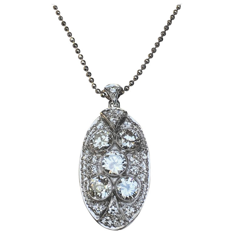 Art Deco Diamond White Gold Pendant