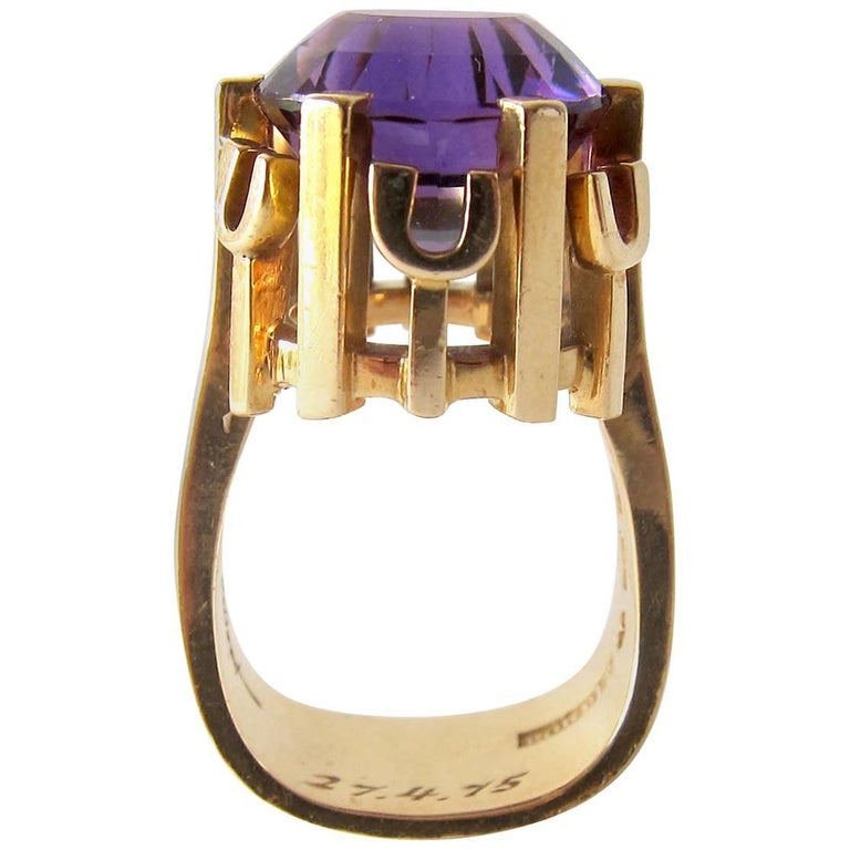 Rare Robbert Gold Amethyst Swedish Modernist Regal Crown Ring For Sale
