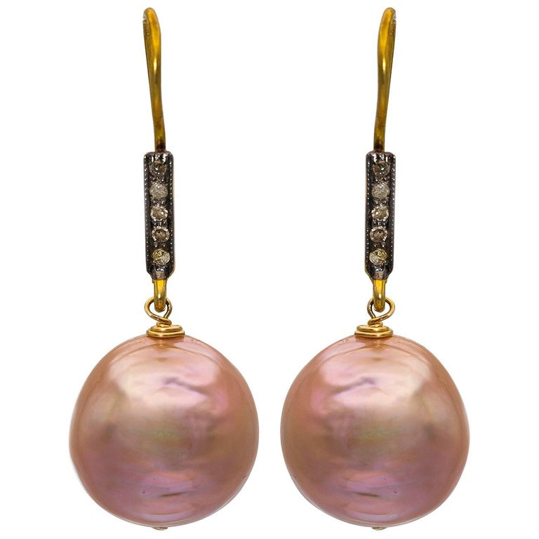 Pink Baroque Pearls on Gold Vermeil and Diamond Wire Earrings