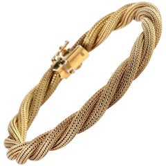 1960s Twisted Rope Matted Yellow Gold Mesh Bracelet