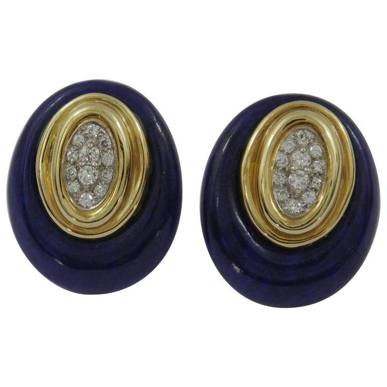 Emis Beros Gold Diamond Lapis Earrings