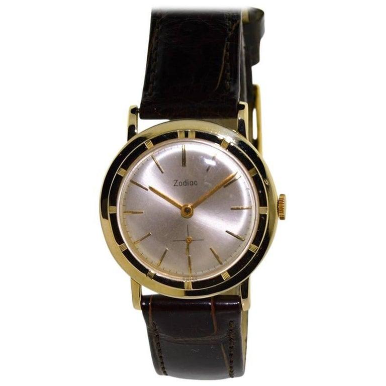 Zodiac Yellow Gold Moderne Style Manual Wristwatch, circa 1950s